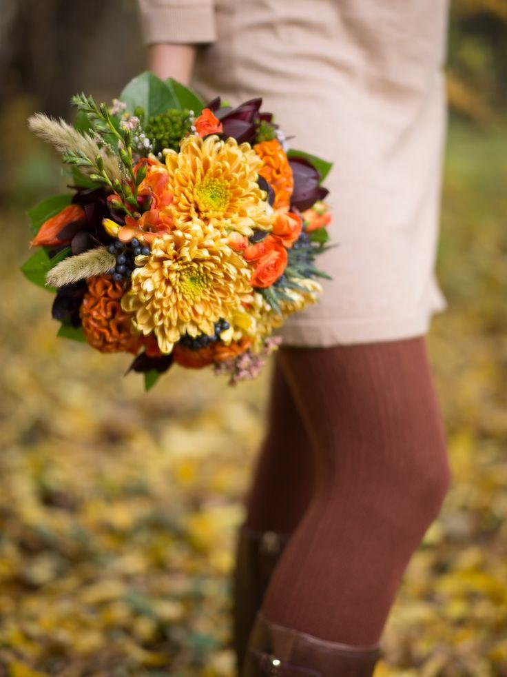 Яркий осенний букет для невесты Autumn bright wedding bouquet