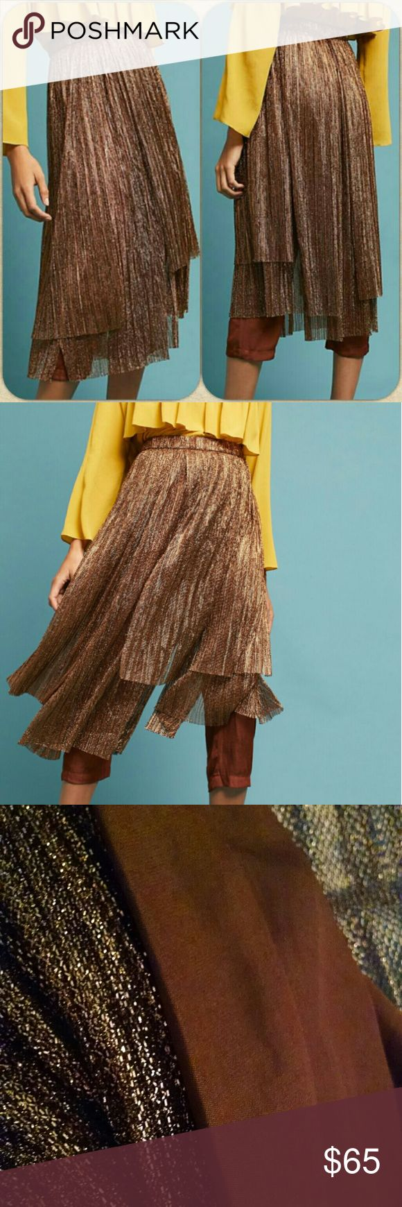 "🆕Anthropologie✨ Metallic Skirt Pants So pretty and comfortable! Zippered back and flowy pleats! Flows like a skirt and very soft pants. You can barely feel them! These are a lovely copper color!  By Maeve Polyester, metallic thread Back zip Dry clean True to size Imported 33""L  Ships next day!💌 Anthropologie Pants Wide Leg"
