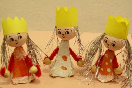 Stránky pro tvořivé - malé i velké - Fotoalbum - Zima - Tři králové - Tři králové z obalu od vajíček (Martínek 4 roky)