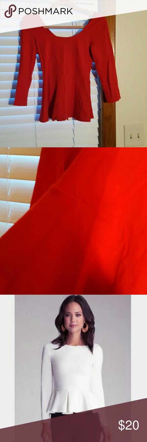 Express Red Peplum Top Slimming long sleeve red peplum top Express Tops Blouses