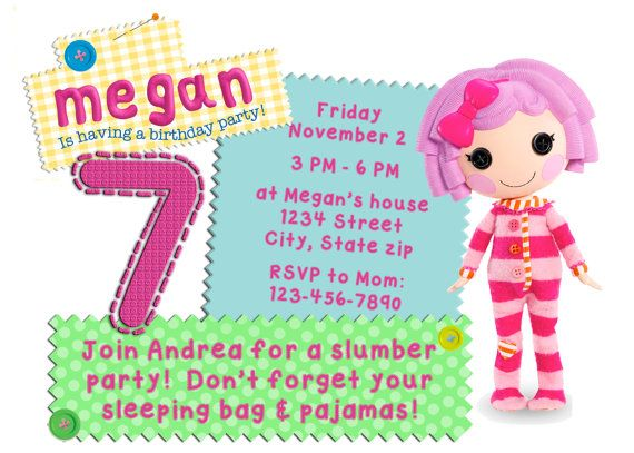 Lalaloopsy Birthday Invitation. This would be perfect for a little girl! lala loopsy, birthday, party, invite