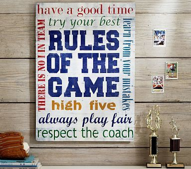 Rules of the Game Planked Art #pbkids Although I'm pretty sure one of my super crafty friends could remake this for about $10