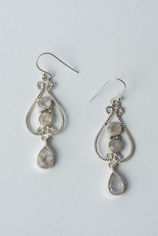 925 Sterling Silver Moonstone Hanging Earrings