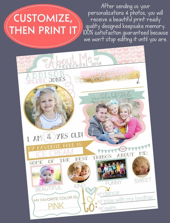 ABOUT ME POSTER modern personalized, custom designed sign