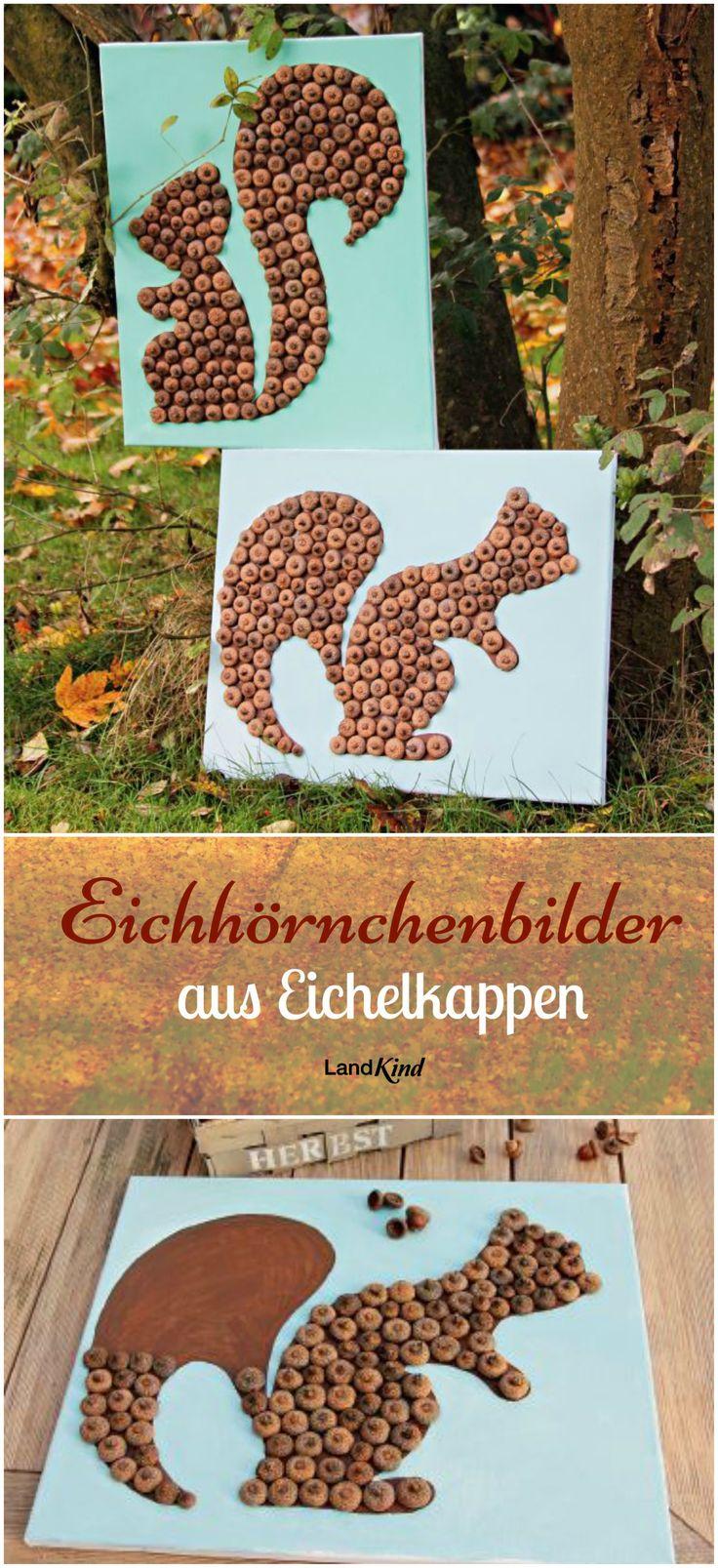 Basteln mit Naturmaterialien macht im Herbst besonders viel Spaß. Aus knubbeligen Eichelkappen entstehen mit Bastelkleber und etwas Farbe kleine Kunstwerke.