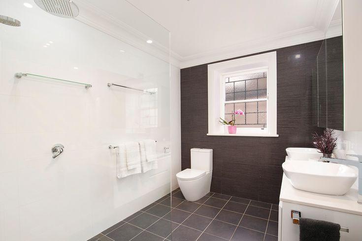 Sleek bathroom, rain shower, twin basins, classic home, designer interiors, 16 Mayes Street, Annandale, Pilcher Residential