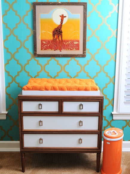The Midwest Momma: Turquoise and Orange Nursery unisex. Just not the gold for a boys room.