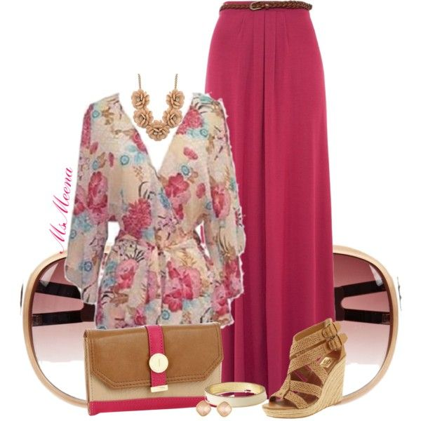 """""""Floral Kimono blouse"""" by msmeena on Polyvore ~ Blue Floral Multi Print Wrap Tunic Kimono Blouse$35ladiesfashionsense.com.   Deep Pink Jersey Belted Maxi Skirt$26newlook.com #maxi #skirt #outfits"""