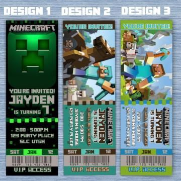 Minecraft Birthday Invitation tickets- Printable