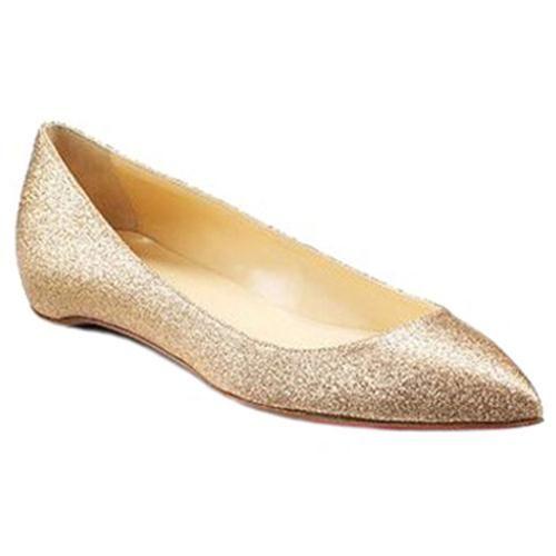 Christian Louboutin Pigalle Glitter Ballerinas Gold - WEDDING SHOES.