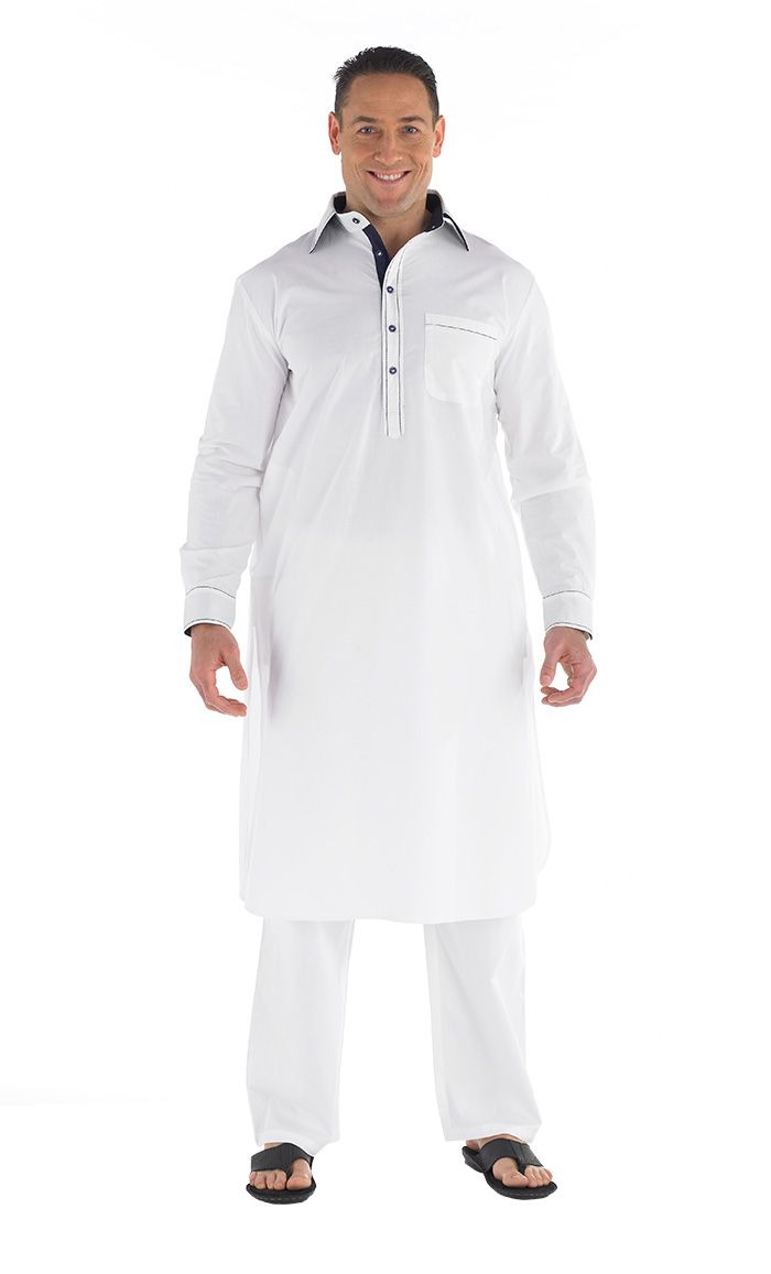 Button front Men's kurta Set. Contrast lining on placket and collar, pleated back with yoke and pockets on side and chest.  Pants included  Fabric: 100% Cotton.
