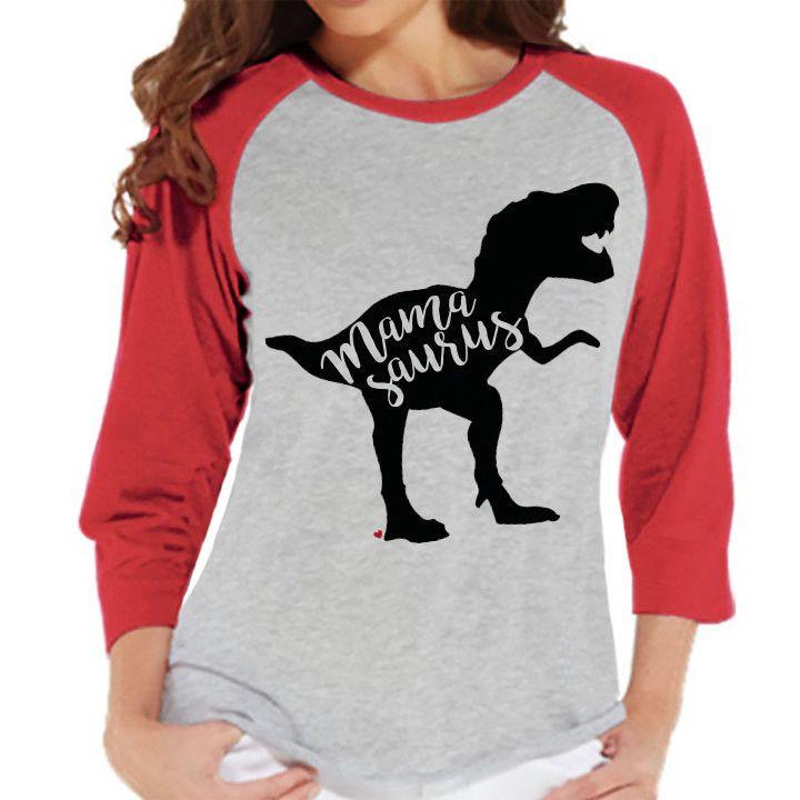 Mamasaurus Shirt - Women's Red Raglan Shirt - Women's Baseball Tee - Dinosaur Shirt - Mother's Day Gift Idea - Family Outfits - Gift for Her