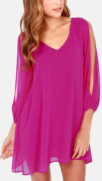 Shifting Dears Magenta Long Sleeve Dress