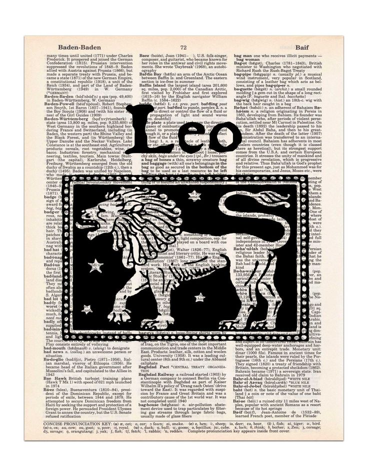 Leo, Vintage Astrology Art, Dictionary Print