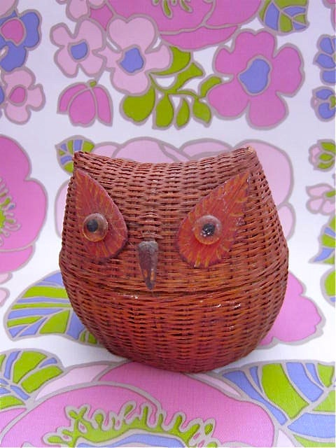 Vintage 1970s Wicker Owl