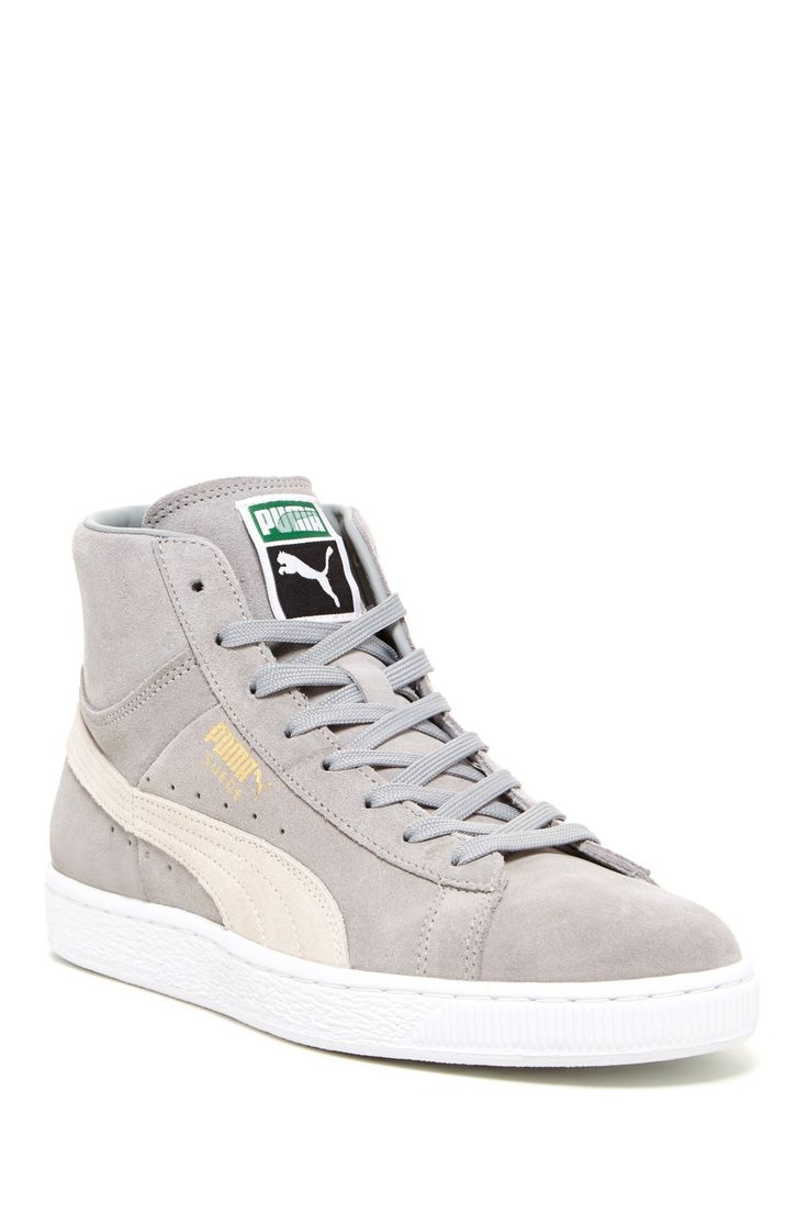 my next purchase...in black...Puma Suede Mid Classic: Light Grey
