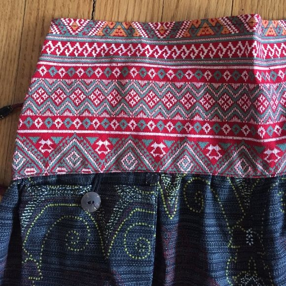 Beautiful Thai Harem pants, NEW!   Strong cotton canvas with contrasting waistband, elastic in back of waist with tie.  Front button pocket, elastic ankle.  Bought in Thailand, never worn.  So cute. Pants
