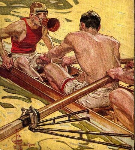 Cox and rowers, The Popular Magazine, 1910, J. C. Leyendecker (1874-1951) by The Happy Rower, via Flickr