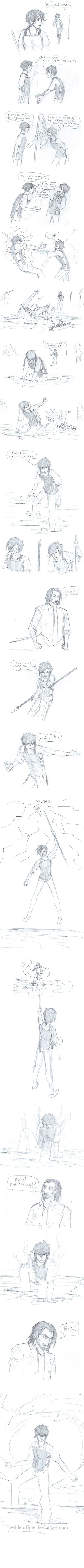 Percy Jackson-- Percy vs. Thalia by Golden-Flute.deviantart.com on @deviantART Comment who you think would win!!!!!