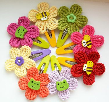 Crochet hair clip flower with button embellishment