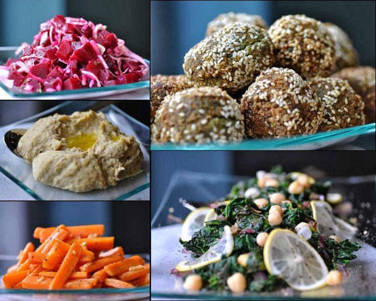 Orientalische Gemüseplatte mit Falafel und Hummus - Kubiena - Kochblog