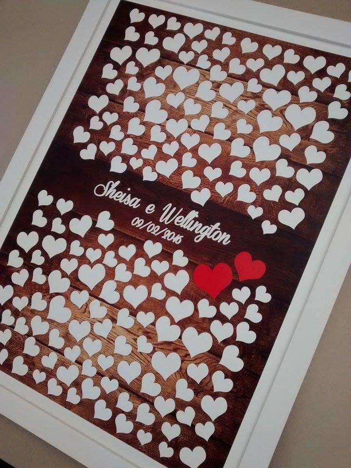 Lindo quadro de assinaturas! Seu convidado escolhe um coração e deixa sua assinatura.  Deixe seu casamento ainda mais charmoso e diferente.  Personalizamos com o nome dos noivos e a data do casamento se preferir  Neste modelo temos 180 corações para assinaturas  Podemos alterar as cores.    Taman...
