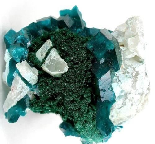 Dioptase on Malachite from Namibia