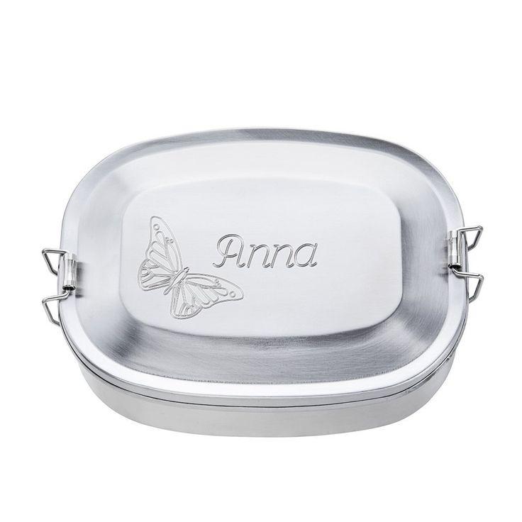 Brotdose aus Edelstahl mit Gravur - Rund - Motiv Schmetterling - Personalisiert mit Namen - Persönliche Lunchbox als Geschenk-Idee zum Schulanfang - Geschenke für Kinder: Amazon.de: Küche & Haushalt