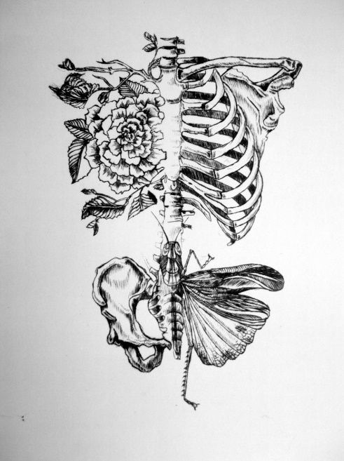 This would be an impeccable idea for a tattoo- the merging of nature and skeletal structure.