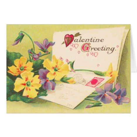 Retro Floral Victorian Valentine's Day Card #valentinesday #cards #postage