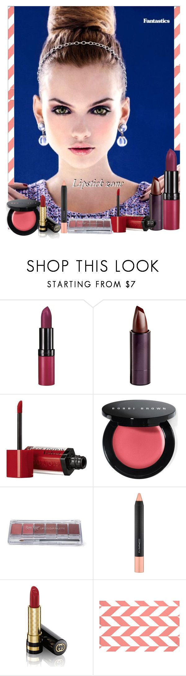 """""""Lipstick zone!"""" by lurve-music ❤ liked on Polyvore featuring beauty, Rimmel, Serge Lutens Beauté, Bourjois, Bobbi Brown Cosmetics, MAC Cosmetics, Gucci and e by design"""