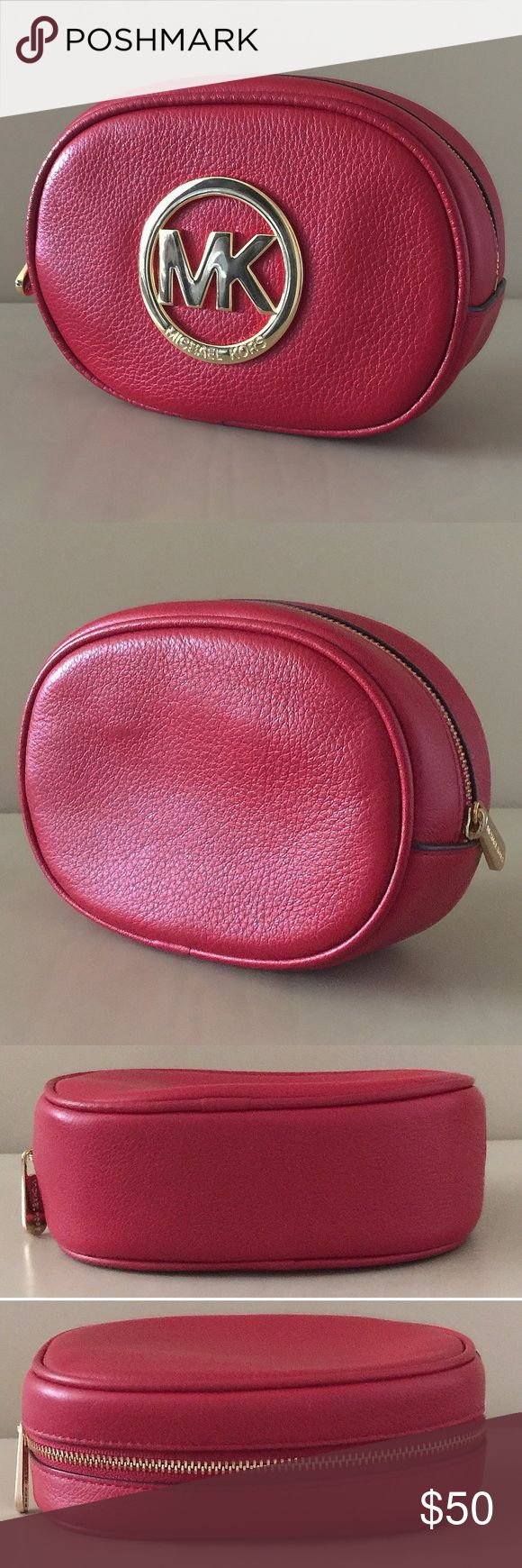 💥TODAY ONLY💥 Michael Kors Fulton Cosmetic Bag - PRICE FIRM -                                                                     Michael Kors Fulton Pebble Leather Cosmetic Travel Bag In Red. Goldtone Hardware. Gently Used. Good Condition. Michael Kors Bags Cosmetic Bags & Cases