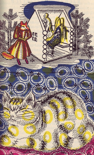 Russian fairy tales by artist & filmaker Alexander Alexieff lithography illustration from 1945