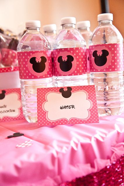 minnie mouse party water bottle wrappers