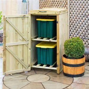 Double Recycling Box Wooden Bin Store