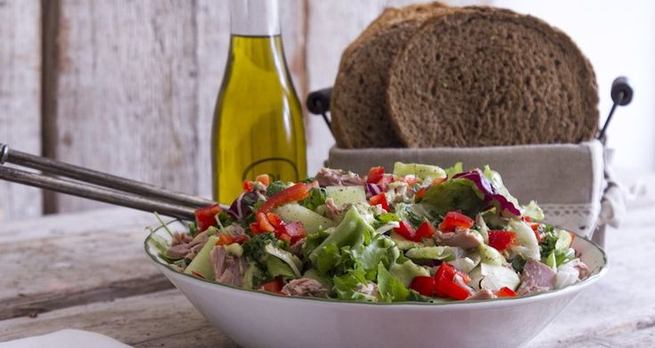 Tuna Salad with avocado! The ultimate recipe for this Mediterranean salad that will keep you full longer than any other! Perfect for lunch, light dinner and picnics!