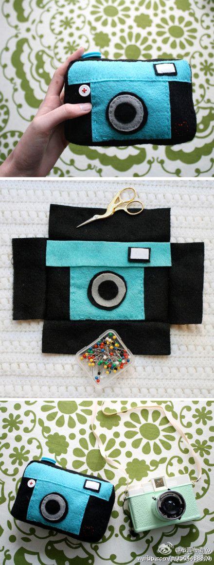 Azul hecho a mano DIY bolsa de la cámara, pero el amor más que toque de menta verde ...