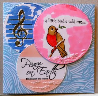 Elly's Creaties: Little Birdie Greeting card  with Rubber Dance Stamps