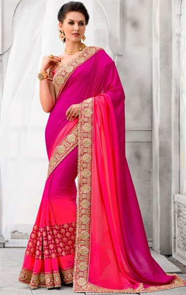 Glamorous Deep Pink Wedding Saree