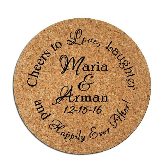 Cheers to Love, Laughter, and Happily Ever After!   Product: 4 Round Cork Coasters with a one-color personalized imprint  Quantity: 150 pieces per lot  Coaster Dimensions: 4 in Diameter and 1/8 Thick - please note that these are budget-friendly favors, so they can be bent if forced, but are much higher quality than paper/cardboard personalized coasters seen on other websites! Imprint Area: 2.5 Circle  Imprint Colors Available: Imprint colors shown in images above *** Please note tha...