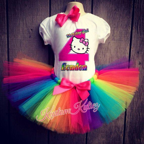 Hello Kitty Birthday outfit  Rainbow tutu hello by KustomKutiez, $39.00