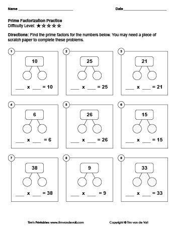 Prime Factorization Worksheet 1 Tim S Printables Pdf Format Answer Sheet Included Prime Factorization Worksheet Prime Factorization 5th Grade Worksheets