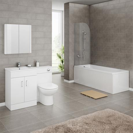 Turin Gloss White Vanity Unit Suite with Square Single Ended Bath