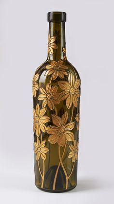 Hand painted wine bottle #decoratedwinebottles