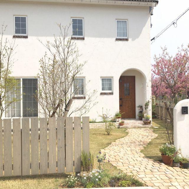 moeさんの、芝生,ファインタンブルストーン,外壁塗り壁,地植え花壇なに植えようかなー,ガーデニング,塗り壁門柱,バラのオベリスク,フレンチガーデン目指してます,エコアコールウッドのフェンス,アンティークレンガのアプローチ,コデマリ,アオダモ,ハナミズキ,ジューンベリー,ブナ,八重桜,玄関/入り口,のお部屋写真