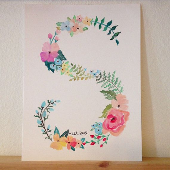 Custom Watercolor Letter Wildflower theme (9x12) Established Wedding date optional - leave in the notes if you would like me to add any specific colors
