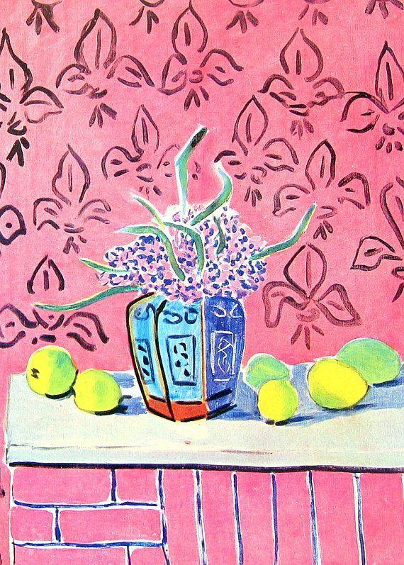 1951 Henri Matisse Print Lemons against Pink Background - Vintage Magazine Page