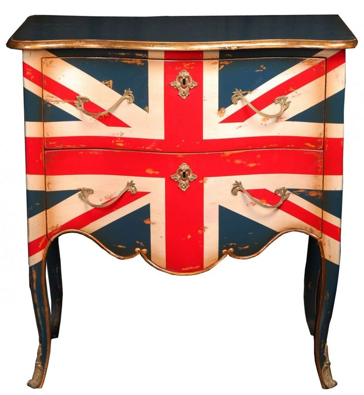 British Flag Furniture for Accentuating Every Space : Old Styled Dresser And Writing Desk With Curvy Leg Also Painted With British Flag And Added With Silver Handles