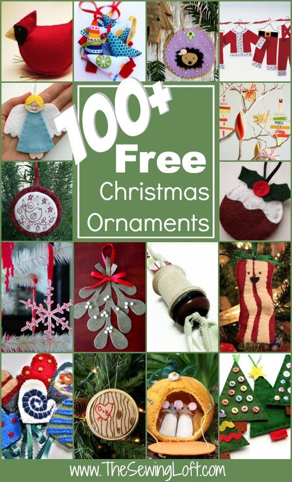 100  FREE Christmas Ornaments Patterns Rounded Up in one place. Bring back the joy of a handmade Christmas with these fun ideas.  Lots here that kids can make too. The Sewing Loft