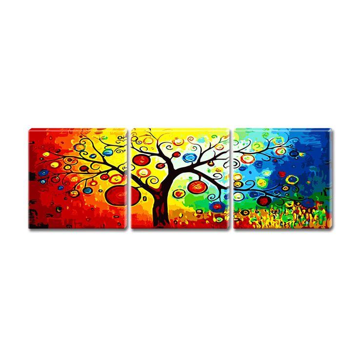 """Malen nach Zahlen """"Triptychon Baum vier Jahreszeiten"""" - Malen nach Zahlen auf Keilrahmen. « Malfertige Spezialmotive « Malen nach Zahlen « Malen im Junghans-Wolle Creativ-Shop kaufen"""